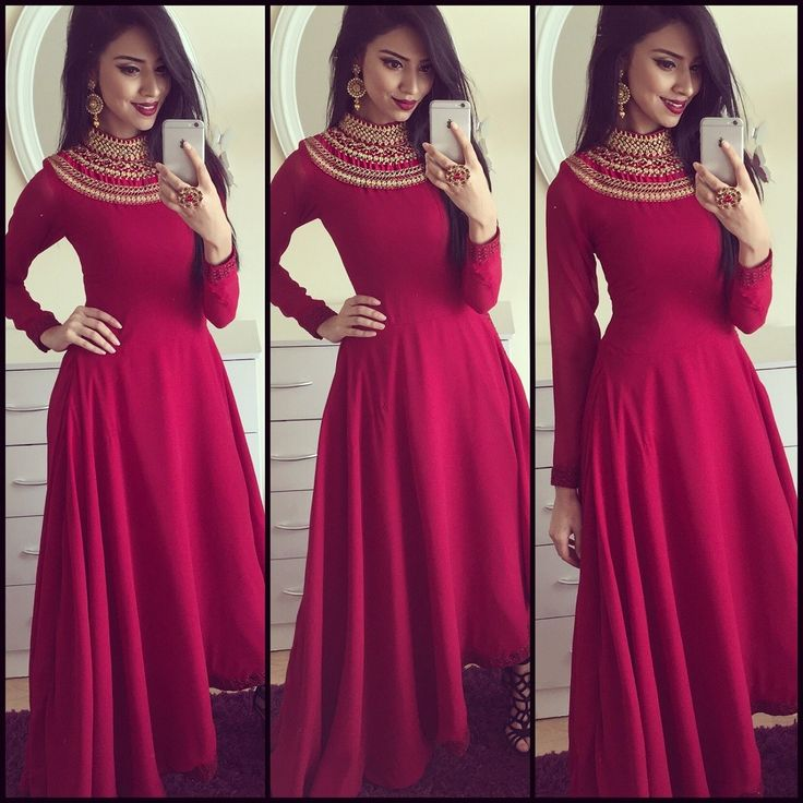 Satin+Patch+Work+Red+Plain+Semi+Stitched+Long+Anarkali+Suit+-+RLW at Rs 1499