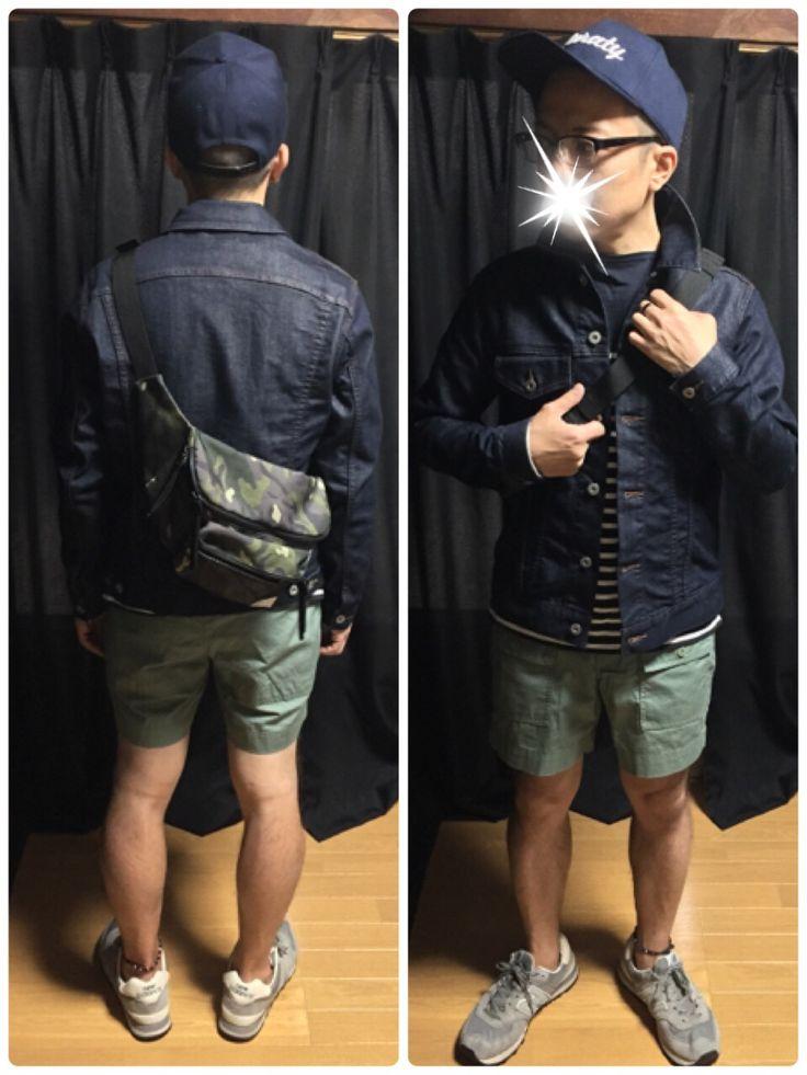 2015/04/20のコーデ ベースボールキャップGLOBALWORK デニムジャケットGLOBALWORK ボーダーカットソー無印良品 ショートパンツUNIQLO×michael bastian シューズnewbalance ボディバッグGLOBALWORK #Style #fashion #outfit #GLOBALWORK #UNIQLO #michael bastian