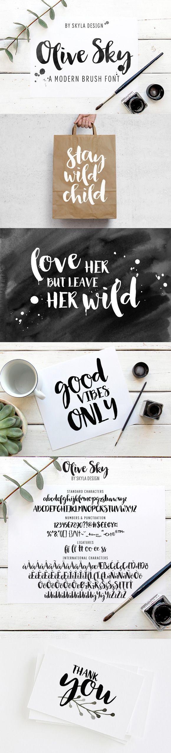 Modern brush font - Olive Sky  by skyladesign on @creativemarket