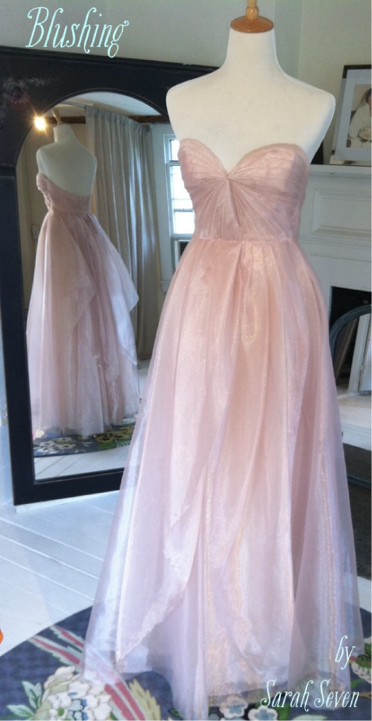 Unique Blushing by Sarah Seven A pink gown Everthine Bridal Boutique u a bridal shop serving Connecticut Rhode Island New York Boston and Beyond