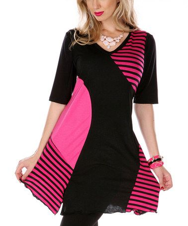 Take a look at this Pink & Black Stripe Sleeveless Tunic by Lily on #zulily today!