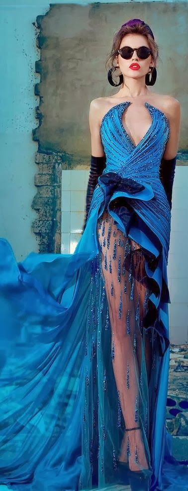 Magnificent Blue and Black Colourful Dress
