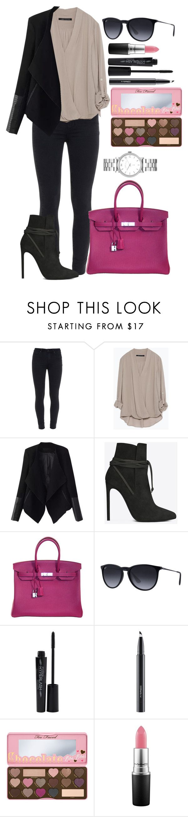 """Untitled #1350"" by fabianarveloc on Polyvore featuring Paige Denim, Zara, Relaxfeel, Yves Saint Laurent, Hermès, Ray-Ban, Smashbox, MAC Cosmetics, Marc by Marc Jacobs and women's clothing"