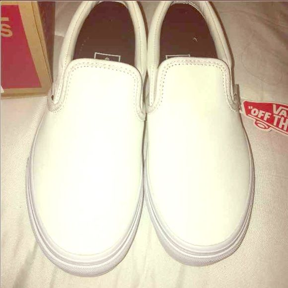 White leather Vans slipons NEW IN BOX Vans Shoes Flats & Loafers
