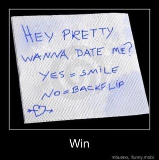 Well..I have a heart so I'd smile, but really, if I didn't want to date you, I can do that backflip. #gymnasticsrules