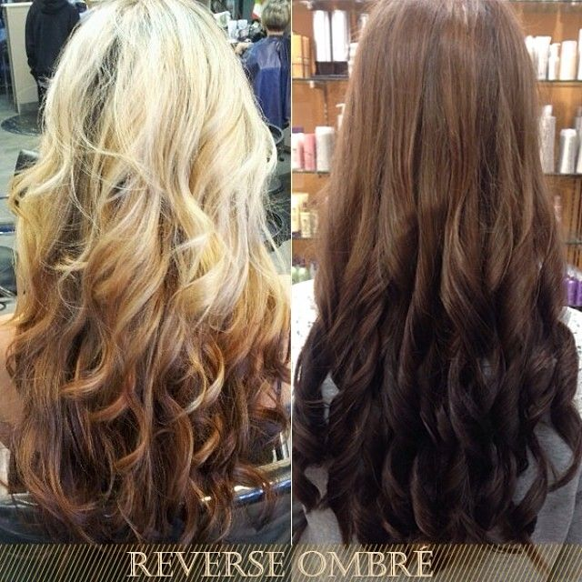 blonde and brown ombre hair colors Ombre color has been undoubtedly one of the hottest topics in recent years. Some of you may have tried it and want sth new for this summer. So how about this super-trendy inspiration - REVERSE OMBRÉ? Whether your nature hair is black or blonde, reverse ombré will work!