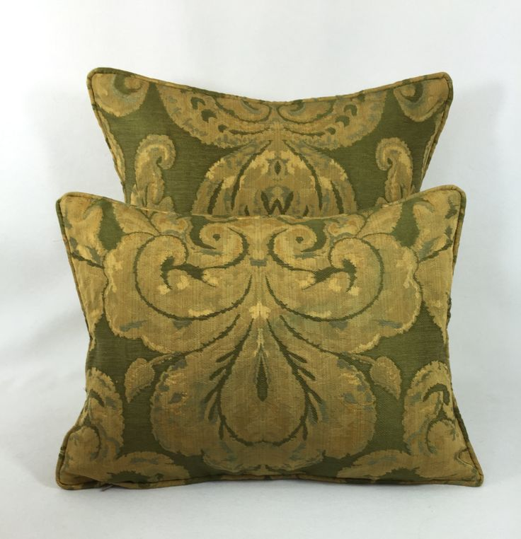 """Zoffany Fabrics ~ Brocatello ~ Green - Pair of  Cushion Covers - Pillow Throws 1 at  16"""" x 16"""" - 1 at 16"""" x 12"""" by MayEvelyneInteriors on Etsy https://www.etsy.com/listing/269127949/zoffany-fabrics-brocatello-green-pair-of"""