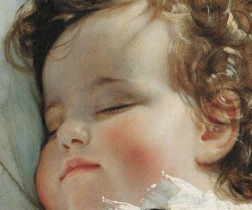 Particolari di opere: La principessa Marie Franziska von Liechenstein. Friedrich von Amerling, olio su tela del 1836. Liechtensthein Museum, Vienna. I bimbi, principi o no, sono tutti belli quando dormono........