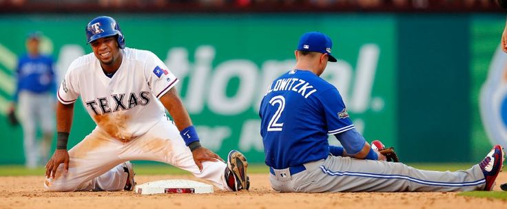 Elvis Andrus is tagged out after trying to steal second during the sixth inning of ALDS Game 1 at Globe Life Park Thursday, October 6, 2016. (Tom Fox/The Dallas Morning News)