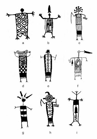 Patterned body anthropomorphic figures.  These figures appear to represent human and animal conflations.  Note the taloned feet, head adornments, and hunting weaponry associated with the figures.  A, c, d, e, and h are from Renegade Canyon; b and f are from CA-Iny-5 (aka Junction Ranch 3 and Sunrise Cliffs); g and i are from Big Petroglyph Canyon.