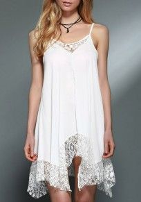 White Patchwork Lace Collarless Casual Cotton Mini Dress