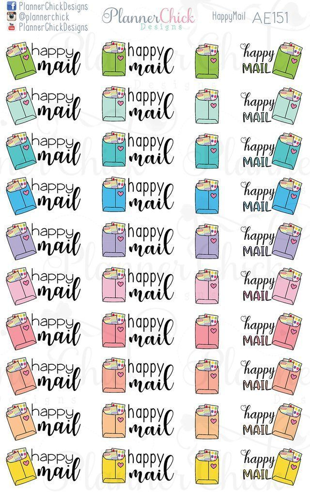 Happy Mail Planner Stickers Happy Mail Printable Planner Stickers