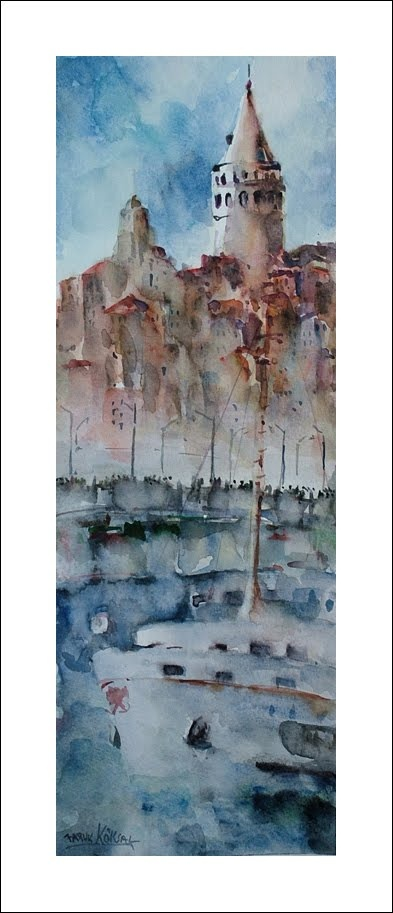 Galata Tower in Istanbul. Great Watercolour