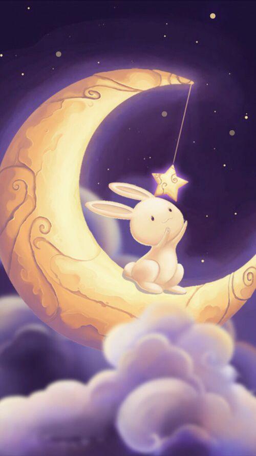 необычной картинка лунный кролик спит на луне этот день мужчины