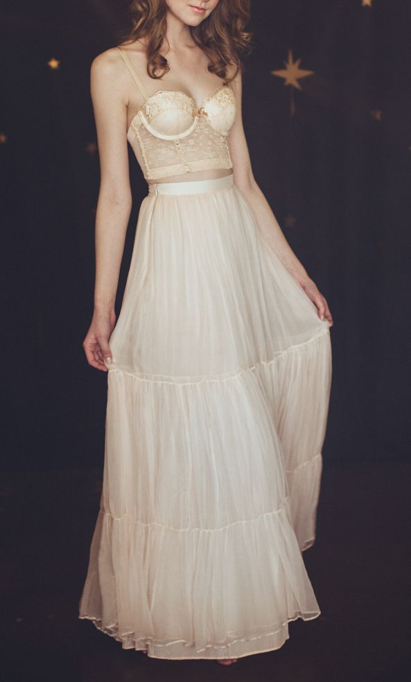 cream lace bralette with tulle maxi // skirt by Cleo & Clementine #delicate #wedding