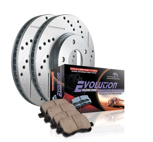 Power Stop K1547 Front Ceramic Brake Pad and Cross Drilled/Slotted Combo Rotor One-Click Brake Kit Two front rotors and front brake pads included. Ceramic pads reduce noise fade and dust. Components are engineered to work together. One Click brake kit is everything you need. Pre-matched components ready to install.  #Power_Stop #Automotive_Parts_and_Accessories