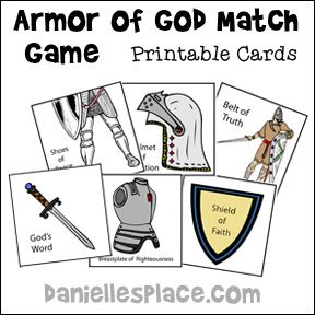 Armor of God Match Game for Children's Ministry from www.daniellesplace.com   Great game to play to teach the Armor of God