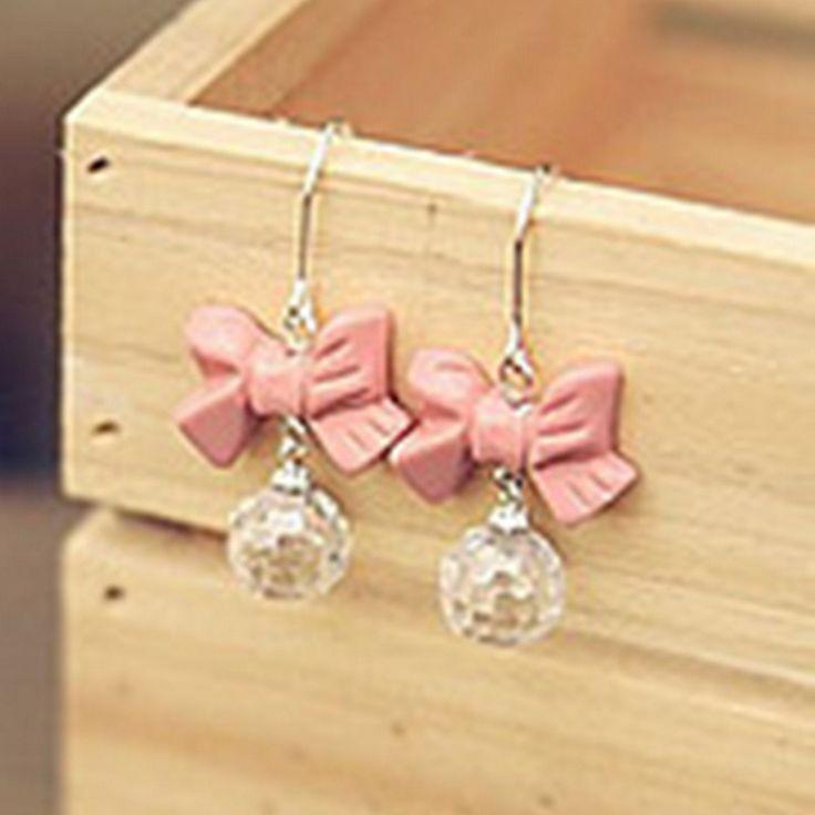2016 nieuwe hot koop leuke goedkope sieraden vrouwen Strik earring Mode Roze Boog Oorbellen E114