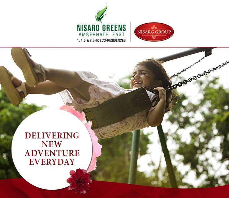 """""""Delivering New Adventure Everyday"""" Nisarg Greens - Ambernath East 1, 1.5 & 2 BHK Eco-Residences #MahaRera Registration Number for Phase II - P51700008839 To know more log on to: http://www.nisarggroup.com/greens/ Or you can call on: 08655 787878   SMS 'GREENS' to 56161 #NisargGreens #Ambernath #RealEstate #EcoLuxury #Property #Homes"""