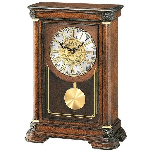Seiko Alder Mantel Clock ($285) ❤ liked on Polyvore featuring home, home decor, clocks, brown, chiming mantel clocks, chiming clocks, battery clock, battery operated clocks and dial clock