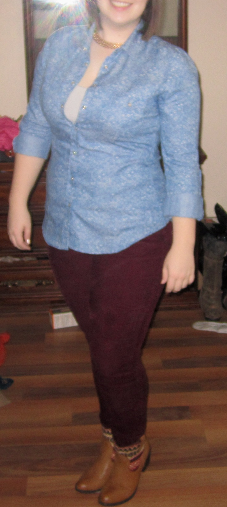 This particular outfit show how great thrift stores can be! Ankle boots - $ 16.00 (Maurices), Red Cords - $ 15.00 (Suzy Shier), White Camisole - $ 5.00 (Reitmans), Denim button up - $ 5.00 (Value Village), Gold Necklace - Grandma's. Total look: $41.00