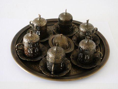Brass Turkish Coffee Set For six