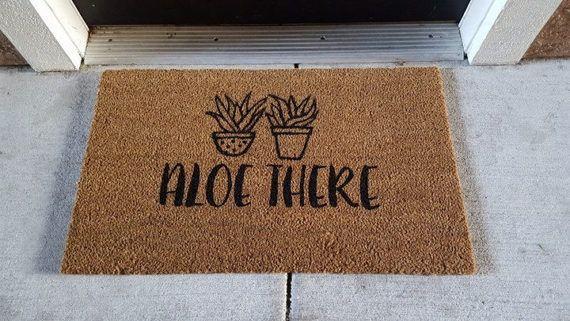 Aloe Plant Doormat | Succulent | Pun Doormat | Funny Decor | Punny Decor | Welcome Mat | Gardening Decor| Aloe There |Plants