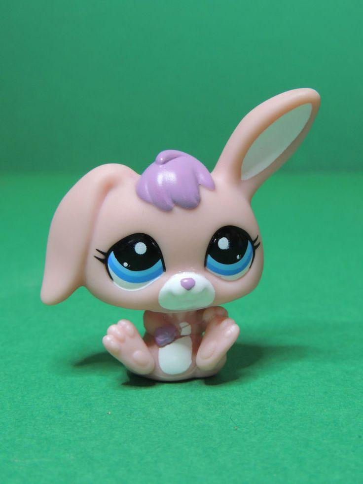 #2513 Lapin Belier pink Rabbit Bunny sitting LPS Littlest Pet Shop Figurine