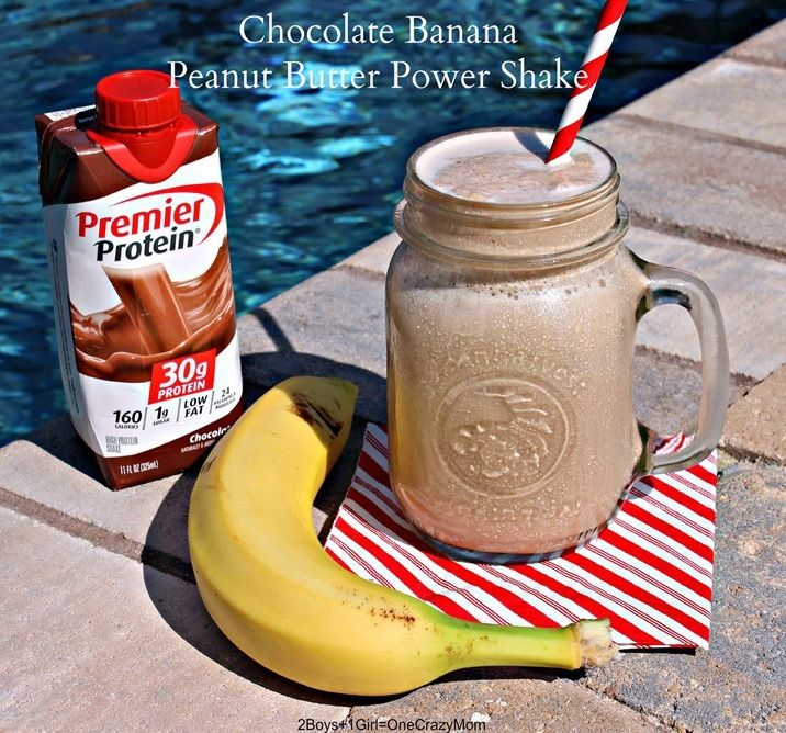 Cool off with this Chocolate Banana Peanut Butter Power Shake.