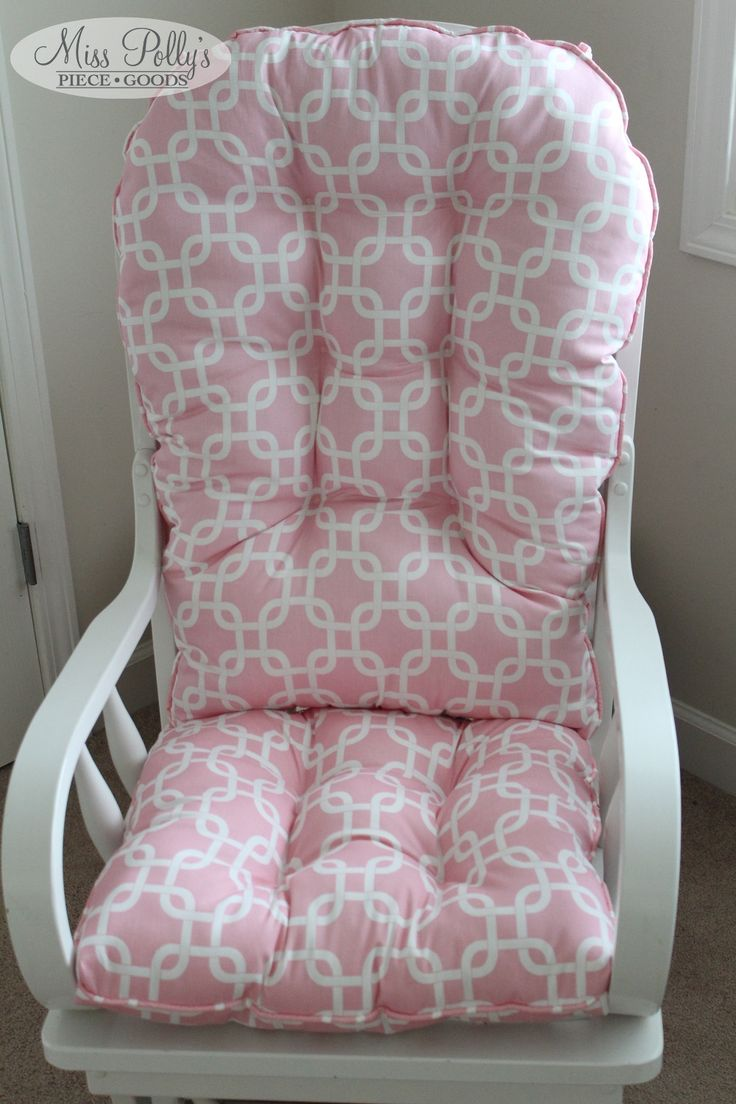 Glider Cushions in baby pink custom made to fit your glider available from MissPollysPieceGoods https://www.etsy.com/listing/178107141/custom-chair-cushions-glider-cushions #pink #cushions #rockingchair #glider #nursery #misspolly