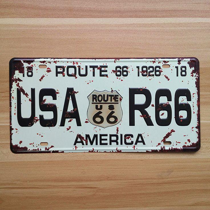 """Купить товарLkb x 016 о номерные знаки числа автомобилей """" Route 66 USAA R66 америка """" домашнего декора стены художественных промыслов старинные железа для бара 15 X 30 см в категории Металлические ремеслана AliExpress.      Metal Tin Signs  I LOVE BEER Wall art craft  Iron Retro metal painting Tin Signs 15x30cm  Plaques Mural XD-12"""