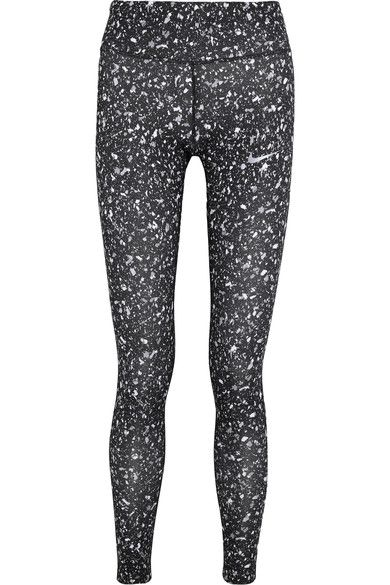 Nike - Power Essential Printed Dri-fit Stretch-jersey Leggings - Black - x small