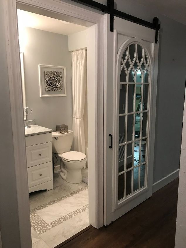 How To Build And Assemble A Mirrored Barn Door With Images Small Bathroom Remodel Bathrooms Remodel Mirror Barn Door