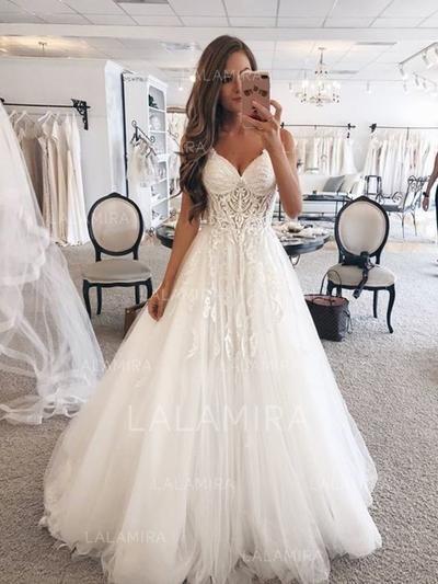 e0ba2c2b1e549  US  167.00  Sweetheart A-Line Princess Wedding Dresses Tulle Lace  Sleeveless Floor-Length