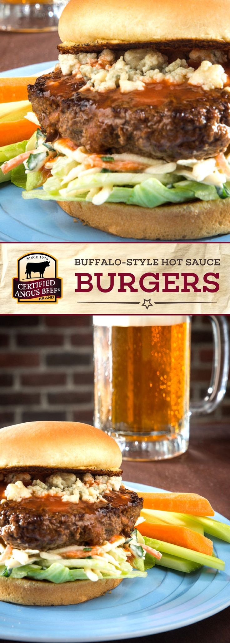 Certified Angus Beef®️️️ brand Buffalo-style Hot Sauce Burgers are truly DELICIOUS! Made with the best ground chuck, hot sauce, and the perfect blend of spices, then topped with blue cheese, these burgers are so TASTY! Perfect for game day. #bestangusbeef #certifiedangusbeef #beefrecipe #burgertime #gamedayrecipes