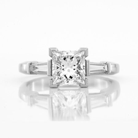 Framed Claw Setting Princess and Tapered Baguettes 3-stone Engagement Ring