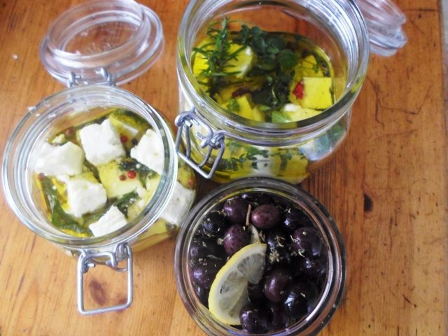 #Feta cheese and #Olives marinated with fresh and dry #Herbs
