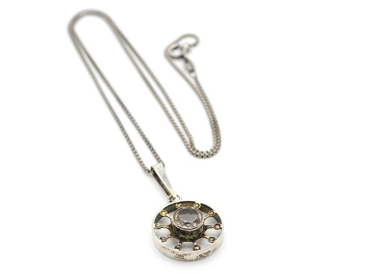 KULTASEPPA SALOVAARA KY, pendant/chain, sterlingsilver ,rock crystal, chain 42 cm, height 3,5 cm, weight 6,0 g.
