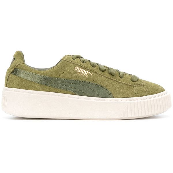 Puma Suede Satin Select Sneakers ($140) ❤ liked on Polyvore featuring shoes, sneakers, army green, puma footwear, olive shoes, suede platform shoes, suede trainers and puma sneakers