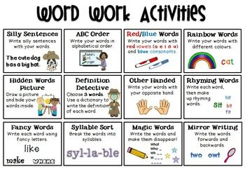 Word Work Activities FREEBIE                                                                                                                                                      More                                                                                                                                                     More