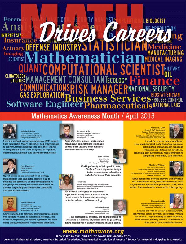 @MathAware -ness month is April. The theme is Math Drives Careers. How will you celebrate? www.mathaware.org