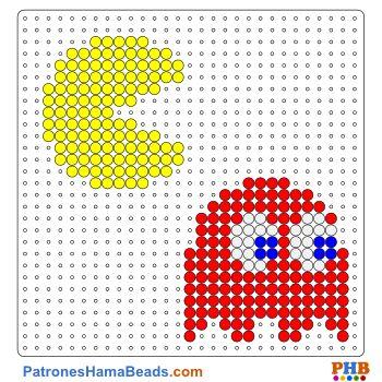 Pacman plantilla hama bead. Descarga una amplia gama de patrones en formato PDF en www.patroneshamabeads.com