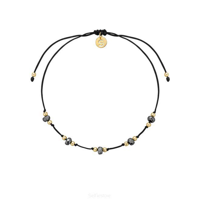 Bransoletka / knot2 / hematyt szary / GF / czarny jedwabny sznurek - Selfie Jewellery - Sklep Internetowy