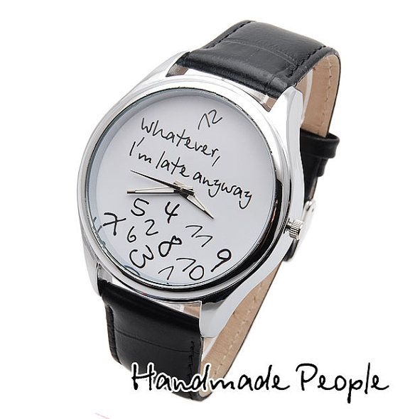 Whatever I'm late anyway BIG White/Black Wrist by HandMadePeople, $60.00