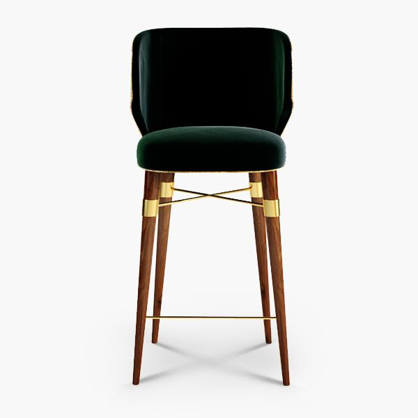 Louis Armstrong was an American jazz trumpeter and singer, recalled as one of the most imposing figures of jazz music, having featured some Hollywood cinema classics during the golden era.  This lofty persona of the golden age inspired OTTIU designers to create a stately family of products called Louis.  Louis Bar chair is upholstered in green velvet and a contrasting golden piping, making a classic design radiates from this chair's modern lines polished brass accents.