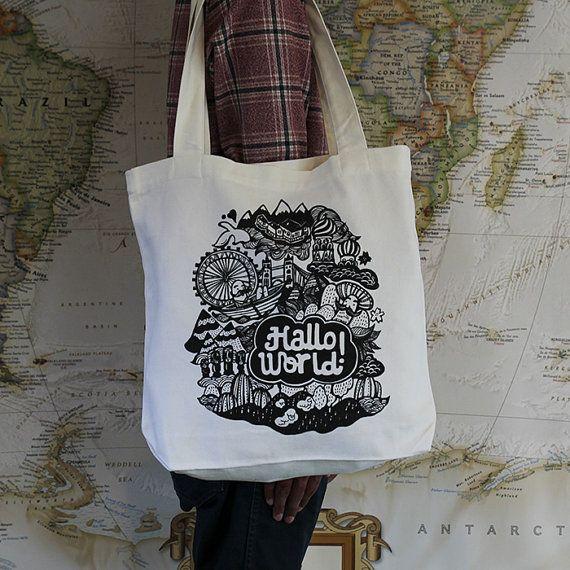 Hallo World Canvas Tote Bag by ReneeChin on Etsy