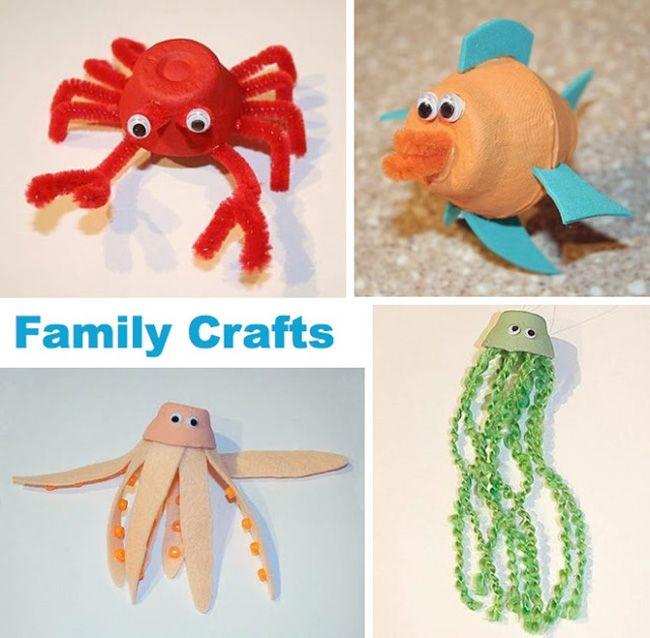 Animales marinos con hueveras carton