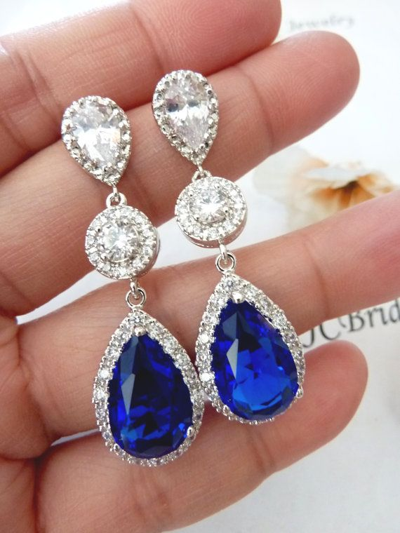Wedding Bridal Earrings LARGE Halo Sapphire by JCBridalJewelry