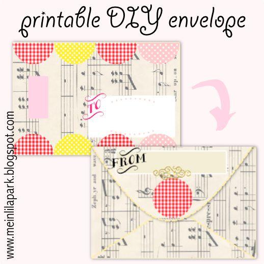 Free printable DIY envelope with vintage flair - ausdruckbares Kuvert - freebie