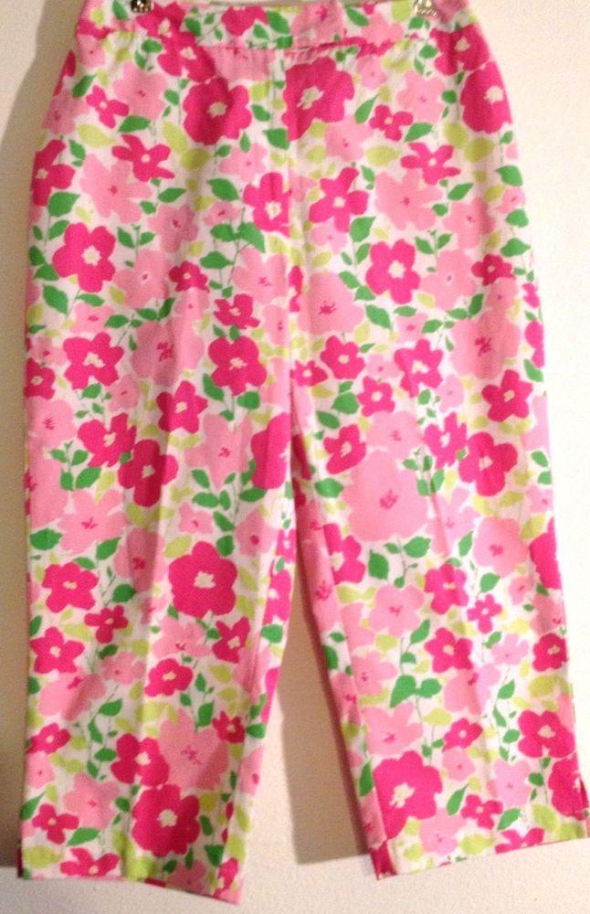 Ladies Pants Capri Jeans Women's Pink Green Flowers Floral by Liz Claiborne 8  #LizClaiborneLizwear #CaprisCropped